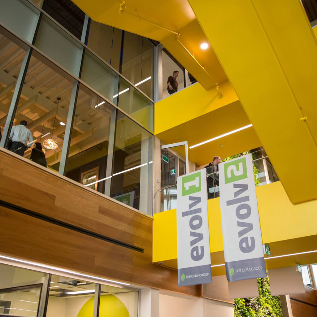 inside of evol1, Canada's first net zero positive multi-tenant commercial office building